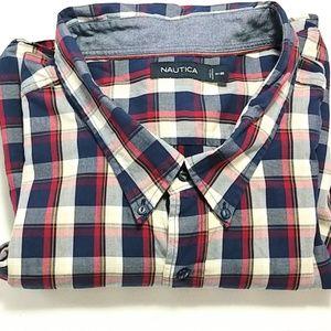 Nautica Sz 6XL long sleeved shirt blue red (329)